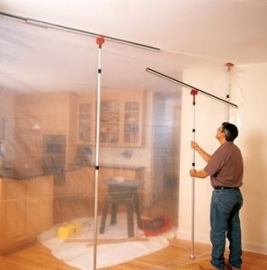 Brushy Bee use the ZipWall Dust Exclusion System to isolate areas where dust might be an issue