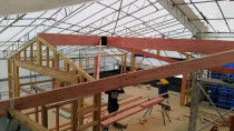 Titirangi - Top floor framing and roof beams.