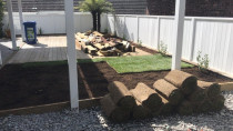 Billy Boy in Action, new grass and landscaping in Mt Albert, Auckland - It is always unbelievable what you can do with so little - you just need to use your imagination and then it is easy to make a backyard look amazing.