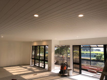 White Tongue and Groove Ceiling with White LED down lights