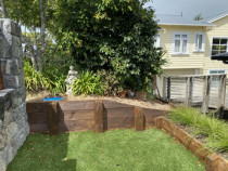 No Fence Before - Existing retaining wall without fence for privacy