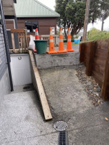 No Access Before - Rotten timber balustrade fell off, concrete drive way finish to a certain point create different levels between landings.