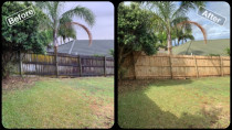 Fence Clean/ Waterblast - Before & After Shot - Exterior House Wash