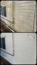 House Soft Wash - Before & After Shot - Exterior House Wash