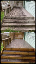 Deck Clean / Waterblasting  - Before & After Shots - Exterior House Wash