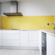 Splashback - 5mm low iron toughened safety glass used to give you the best colour results and uses the Resene colour range.