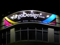 FARGO DESIGN Freemans Bay Outdoor Building Signage Lighting by Hall Electrical Services Ltd