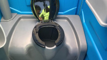 Drop tank toilet - Our budget toilet option is a drop tank toilet with no flushing system.