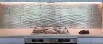 Glass wave tiles by Just Splashbacks - Female Tiler