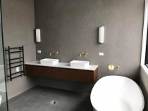 bathroom wall and floor (mosaic tiles for wall)