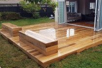 Hardwood deck and seating by Lakeside Landscapes