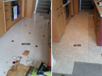 Before and After Laminate Vinyl Tiles with Grout strips by Marson Flooring Ltd