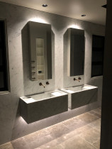 New build in Whitford - Master ensuite bathroom. Under vanity LED sensor lights and vanity down lights.