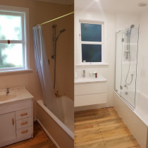 Bathroom - sanded floors and vertical subway tiles.