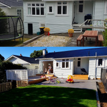 Retaining, levelling, deck, bifold doors, concrete and fencing.