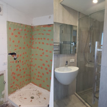 Bathroom - custom shower, 600x600 tiles.