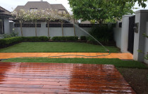 Kwila Deck and Lawn: Sculptaview Landscaping Ltd. - This was a tricky job. 