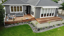 Kwila Deck: Sculptaview Landscaping Ltd. - This existing deck had the old pine timber replaced with Kwila. 