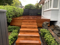 Kwila Deck : Sculptaview Landscaping Ltd. - Beautifully crafted 65msq Kwilla Deck with a grand staircase.