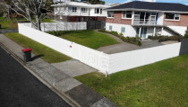 Picket Fence: Sculptaview Landscaping Ltd. - 1.5m high Picket fence with a custom built, galvanized steel framed gate.