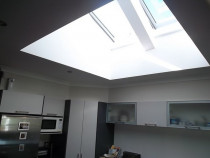 TWO ELECTRIC OPENING SKYLIGHTS - Client removed window and replaced with these two skylights as still wanted natural light but needed more room for cupboards and the like in their kitchen.