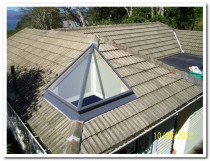 SKYLIGHT OVER RIDGELINE - irregular shape - please note - this was a new skylight install, the inside light well has not been painted.