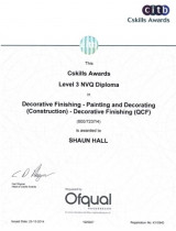 Level 3 NVQ Diploma - Qualification I achieved for completing a painting apprenticeship.