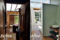 Mt Eden Bathroom Remodel - A transformation into a charming romantic abode. Our happy client is totally smitten with her renovated bathroom through successful teamwork