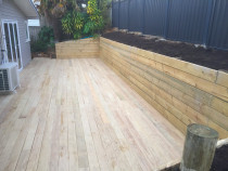 Deck Retaining wall and colour steel vertical fencing