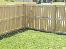 Vertical fence using 88 x 18mm dressed timber with instant lawn turf