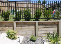 Aluminium security fence with hedge planted over a retaining wall to create a level section