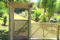 pergola walkway with trellis gates