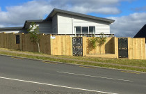 Fence with inset panels and garden inset