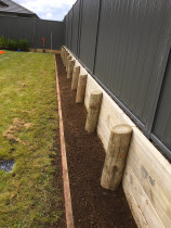 Border garden in front of retaining wall and vertical colour steel fence with timber mowing strip