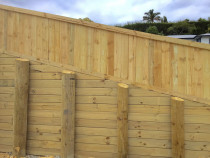 Retaining wall with horizontal paling fence and cap board on top