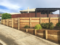 Retaining walls terracing a steep bank with level garden layers