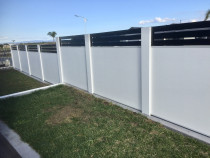 Solid panel fence with horizontal aluminium rails