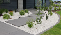 Footpath with weed mat and white stone around plants