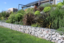 Gabion Rock wall and paths with established gardens planted on bank one year later