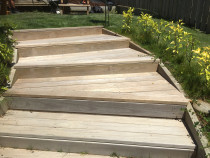 External steps to lawn and garden