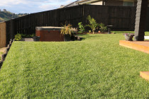 Instant lawn turf and deck with inset spar pool