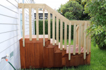 Balustrade rail fece around steps