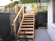 Outdoor steps to upper paved area just created