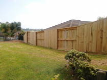 Good neighbour paling fence with cap board and aluminium security open fencing at front