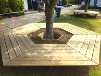 Tree surround hexagonal seating some with internal gardens and galvanised subframe