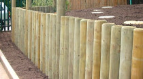Retaining walls using round upright posts