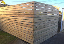 Horizontal fence using dressed 95 x 19 timber. Stainless screws