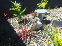 Ornamental riverstone garden with birdbath and paving stone walkway