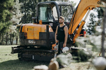 Im Jason and this is one of our diggers - Taking a break on a hot day. I am the owner of Treemendous Tree Service. 