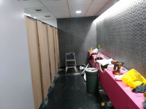 Upgrade of Dowse Art Museum toilets by Vert Construction Ltd - Upgraded old women and men toilets with new linings, wall tiles, changed to new laminated doors  and fitted with new fittings - toilet, mirrors and benchtop.